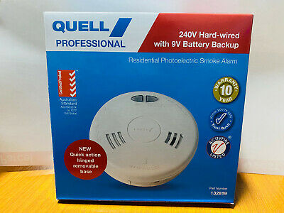 Quell Photoelectric Smoke Alarm 240V, new safety compliant 9V BACKUP Q1300