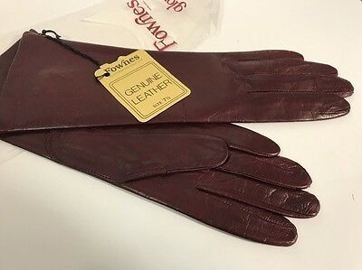 Vintage NWT Fownes Burgundy Maroon Genuine Leather Gloves Size 7.5 New old stock