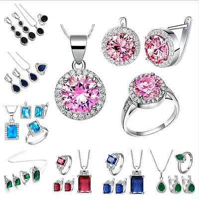 Natural Sapphire Emerald 925 Sterling Silver Pendant+Earring+Ring Jewelry Set