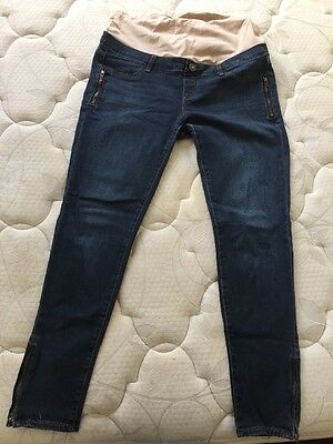 Jeanswest Maternity Skinny 7/8 Jeans Denim Blue Size 12 Vgc Belly Support $129