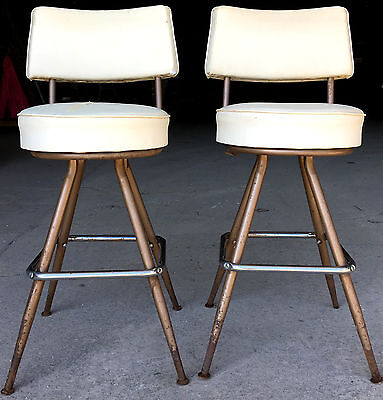 Set of 2 Vintage Mid Century Modern White Swivel Barstools w/ Back Atomic Chairs