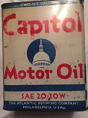 ATLANTIC CAPITOL MOTOR OIL 2-gallon Oil Can Red White Blue USA Advertising