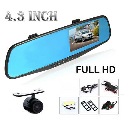 Rear View 4.3'' DVR Car Mirror Screen Full HD 1080P DVR With Backup Camera Kit