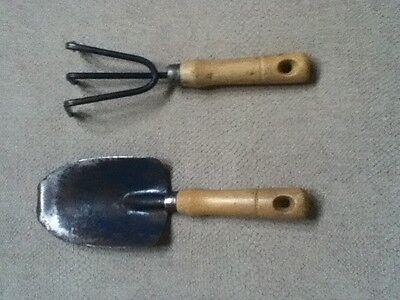 "Vintage 9-10""L Garden Set, Trowel & 3-Prong Hand Claw w/ Wood Handles"
