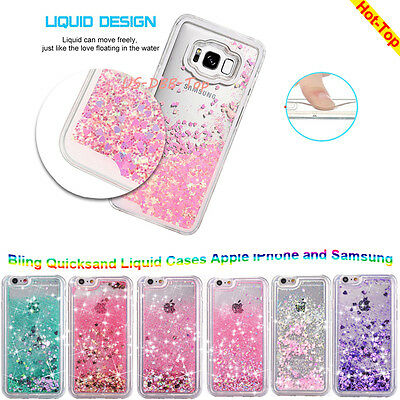 Samsung GALAXY S8 /Plus Bling Hybrid Liquid Glitter Rubber Protective Case Cover