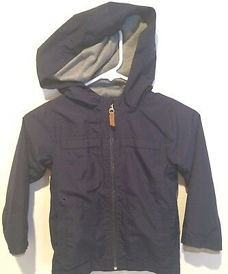 Carters Boys Navy Blue T-Shirt Lined Zip Up Hooded Jacket Size 5