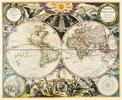 Map of World c1668 repro 18x15