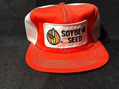 Soybean  Seed Hat Orange White mesh cap Vintage Trucker Farm Hat Corn