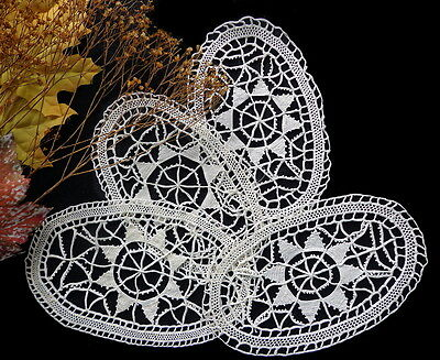 FOUR Vintage Italian RETICELLA Handmade Needle Lace Doilies or Goblet Coasters