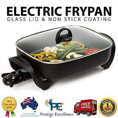 Electric Frypan Frying Pan Cookware Glass Lid Temperature Control 1800W 38x30cm