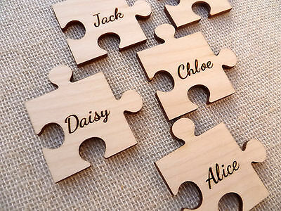 Wooden Personalised Jigsaw Pieces Wedding Guestbook Engraved Jigsaw Puzzle Ply