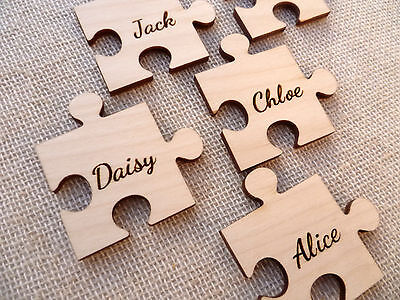Wooden Personalised Jigsaw Pieces ,Wedding Guestbook,Engraved Jigsaw Puzzle Ply