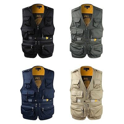 Mens Casual Multi Pockets Travel Fishing Hunting Work Outdoor Photo Vest Camera