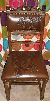 EXQUISITE!!! Antique ART NOUVEAU Chair in OAK with EMBOSSED LEATHER