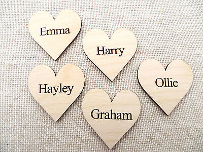 Wooden Personalised Hearts for Family Tree Wedding Guestbook 4cm Hearts engraved