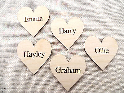 Wooden Personalised Hearts for Family Tree ,Wedding Guestbook,Name Hearts -4cm