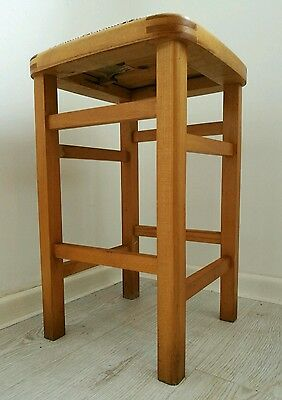 Vintage Mid Century Light Oak Kitchen Stool