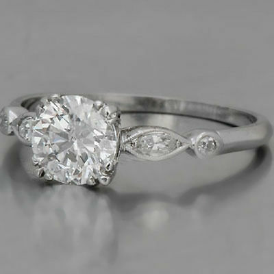 1.50 Ct Off White Moissanite Triple Prong Set Engagement Ring Made in 925 Silver