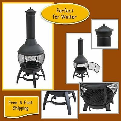 Cast Iron Chiminea, 360-degree view of fire, double doors adjustable feet, Large