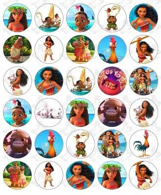30 Moana Edible Paper Cupcake Cup Cake  Topper Image