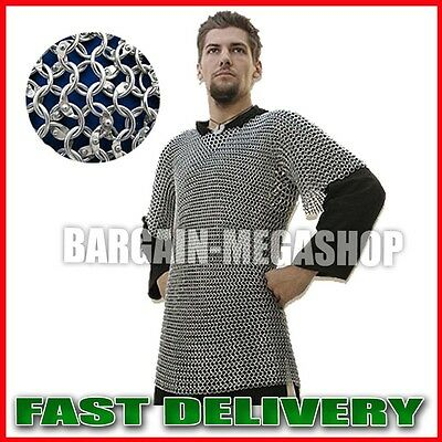 Aluminium Xtra Large 9mm 16g Round Riveted Chain Mail Shirt Medieval Xl Costum