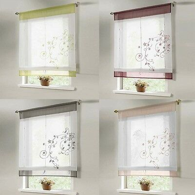 NEW Embroidered Roman Curtain Shade/Blind Light Filtering Fold Window Treatment