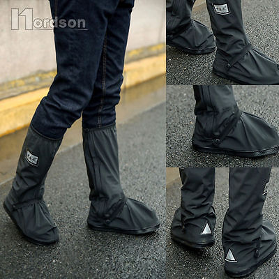 Black Rain Boot Covers for Motorcycle Black Reflective Waterproof Shoe Guard