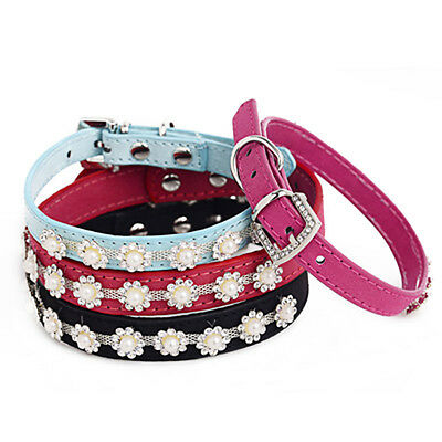 Neck Adjustable Pet Dog Bling Rhinestone Crystal Pearl Collar Puppy Cat Necklace