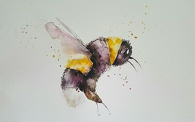"ELLE SMITH ART. BRAND NEW ORIGINAL WATERCOLOUR PAINTING.16x12"" ""BEE ON A FLOWER"""