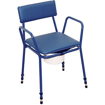 Essex Stacking Compact Commode Chair Adjustable Height Aidapt Blue VR161BL
