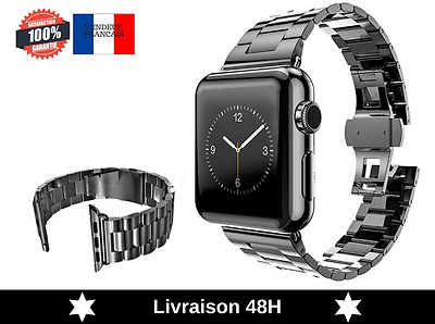 Bracelet Montre Apple Watch Acier Inoxydable 42MM Noir - MPTECK 183x23mm