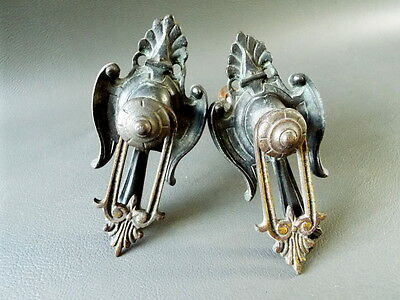 Pair of antique ornate decorative brass clock or furniture mounts with drops