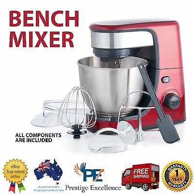 Red Bench Mixer Blending Process Electric Plastic Stand Stainless Whisking Bowl