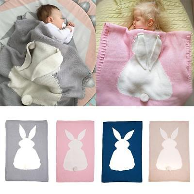 Toddler Baby Kids Rabbit Soft Knit Blanket Sleeping Swaddle Cot Crib Wrap Quilt