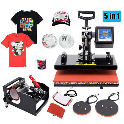 "5 in 1  Heat Press Transfer Machine Sublimation Hat Plate Mug T-shirt 15""x12"""