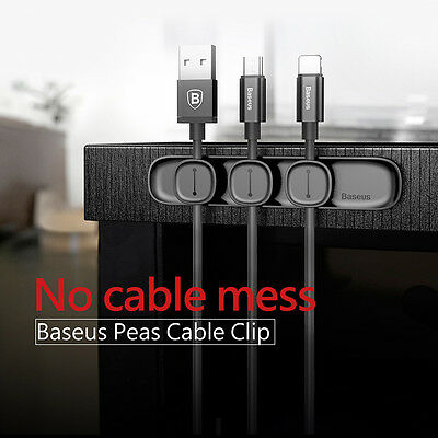 Baseus Magnetic Cable Clip Organizer Wire Cord Management Winder Line Holder NEW
