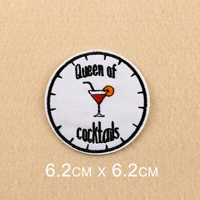 Queen Of Cocktail Embroidered Sew On Iron On Patch Badge Fabric Applique Craft