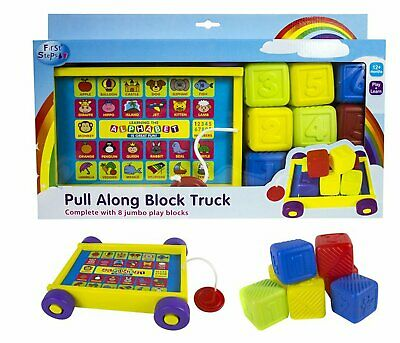 First Steps Pull Along 8 Multicoloured  Block Truck Play & Learn Toy - Washable
