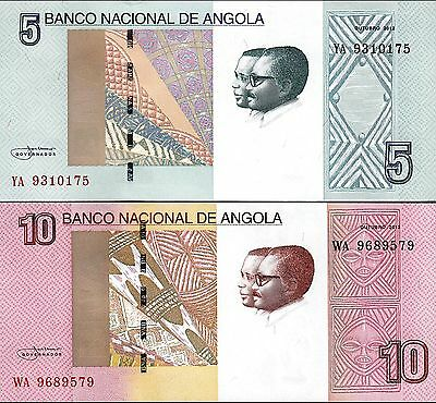 Angola Set 2 Pcs 5 - 10 Kwanzas 2012 (2017) Unc P.new