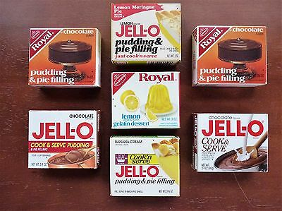 Jell-o & Royal Brands - OLD, Unopened Boxes of Pudding & Pie Filling and Gelatin