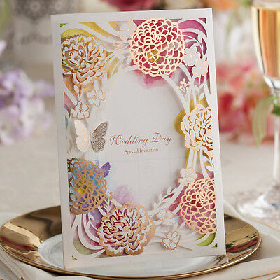 CW065, Colorful Shiny Hollow Flowers and Butterflies Wedding Invitations Cards