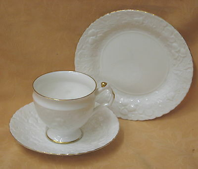 Unused Queens Royal Oak China Embossed Tea Cup Saucer Plate Trio  more available