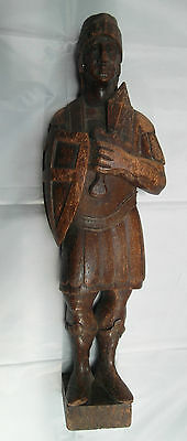 Antique 19th Century Wooden Carved Figure of Roman Soldier/Gladiator