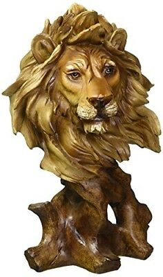 """Lion Bust Collectible Figurine 11.25"""" Tall Resin Sculpture"""