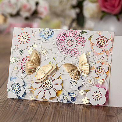 CW5069, White Laser Cut Flowers 3D Gold Butterflies Wedding Invitations Cards