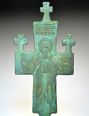 Large Byzantine Bronze Processional Cross with Bronze Pin