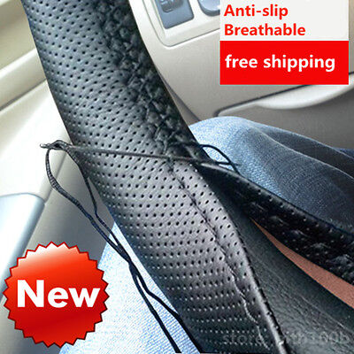 DIY Leather Car Auto Steering Wheel Cover With Needles and Thread Black good L2