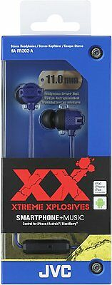 JVC HA-FR202 Xtreme Xplosives Headphones with 1 Button Remote and Mic - Blue
