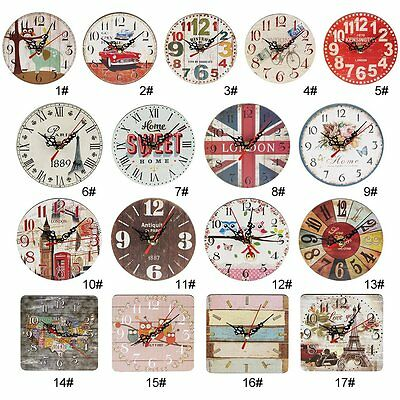 Artistic Silent Creative European Style Round Antique Wooden Home Wall Clock L2