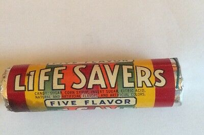 (VTG) 1950's Life Savers Candy Roll Unopened Foil Over Wax Five Flavor